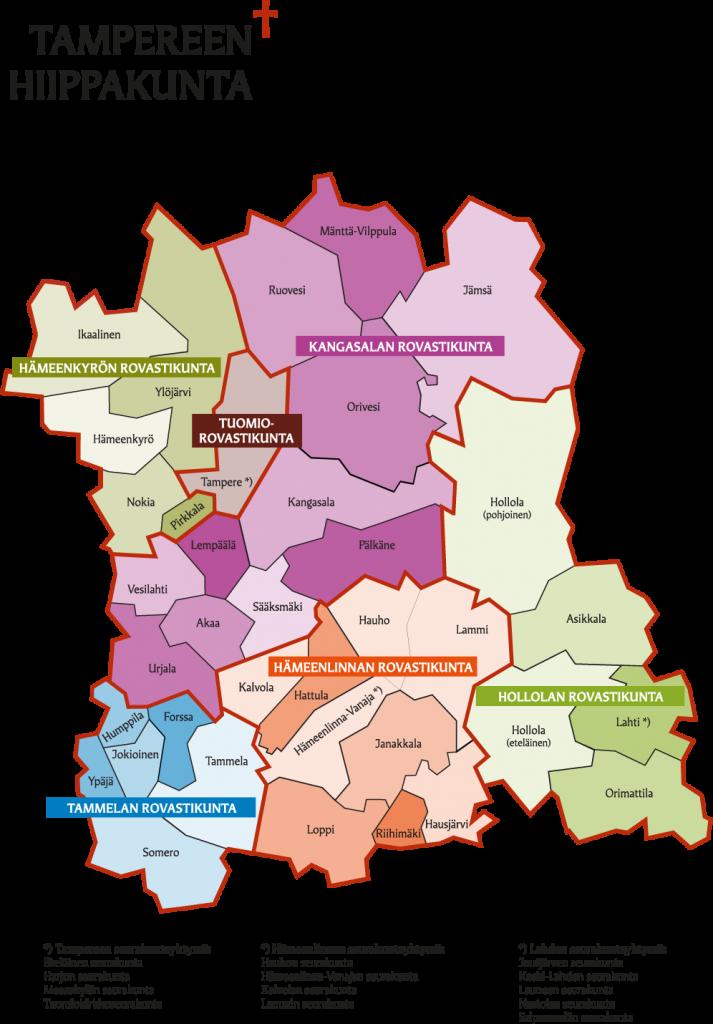 Tampereen hiippakunnassa on nyt 43 seurakuntaa. Jäseniä niissä on liki 600 000. (Kartta: Tampereen hiippakunnan tuomiokapituli)