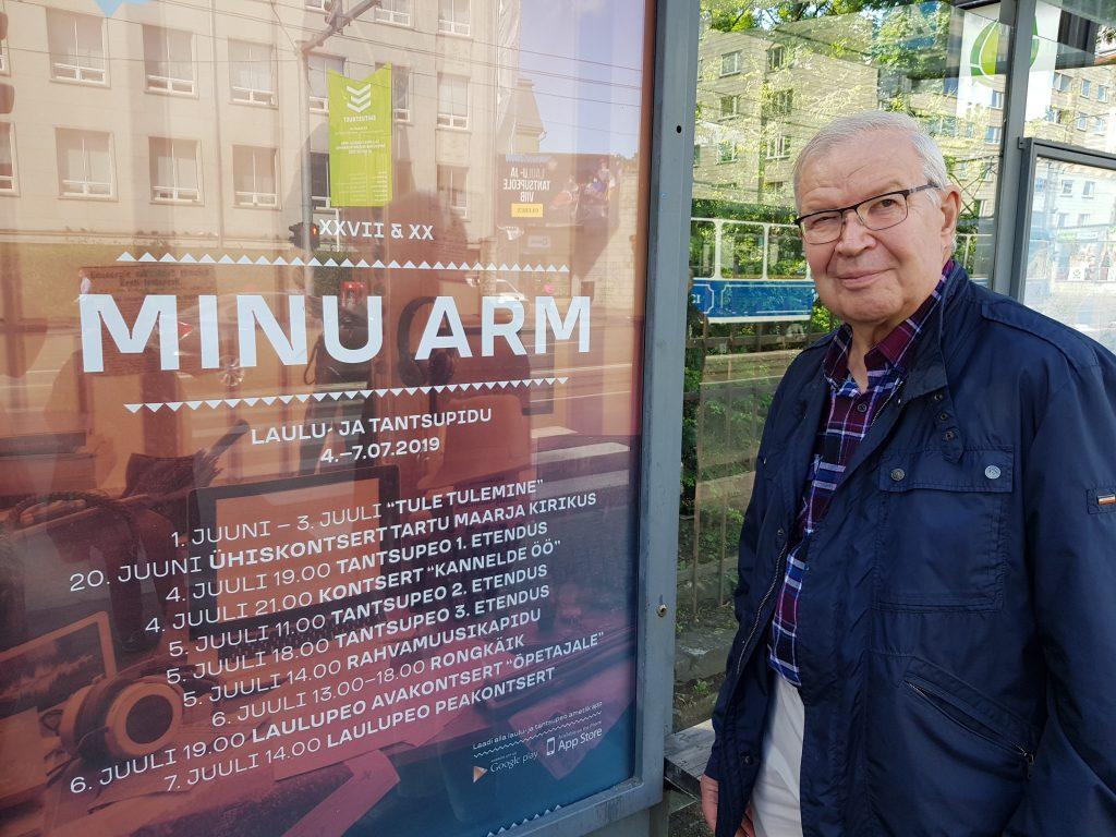 Antero Honkkila oli ensimmäisen kerran Tallinnan laulujuhlilla vuonna 1989, jolloin Viro kuului vielä Neuvostoliittoon. Hänen mukaansa virolaiset todella ovat laulaneet itselleen itsenäisyyden. (Kuva: Matti Pulkkinen)