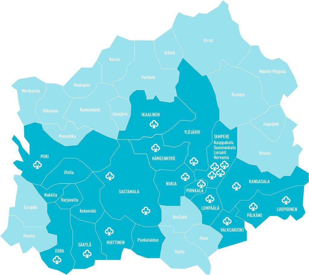 Huittisten Säästöpankin yhdistyttyä ensi keväänä Aito Säästöpankkiin uudesta Aito Säästöpankista tulee säästöpankkiryhmän toiseksi suurin pankki. Se toimii Pirkanmaalla ja Satakunnassa 15 kunnan alueella. Konttoreita on nykyverkostossa 21. (Kartta: Aito Säästöpankki)