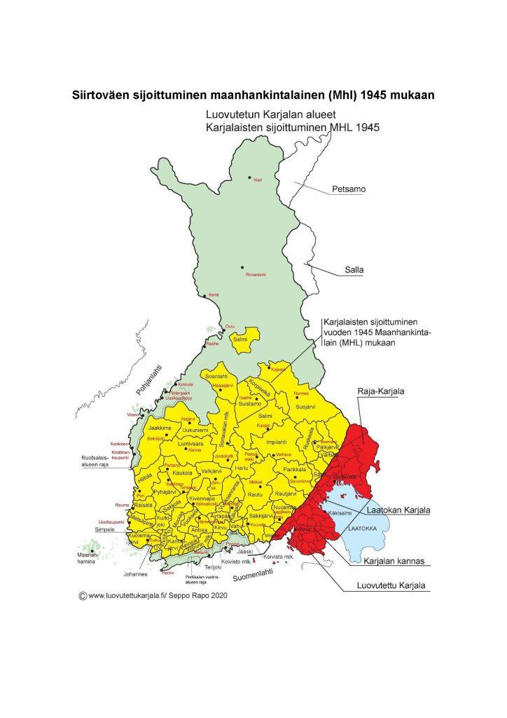 Karjala-aktiivi Seppo Rapo on tehnyt Pirmedioiden pyynnöstä kartan, joka kertoo siirtokarjalaisten asuttamisen kantamaahan toisen maailmansodan jälkeen. (Kartta: Seppo Rapo)